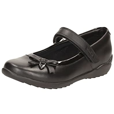 TING FEVER GIRLS RIPTAPE STRAP LEATHER BOW DETAIL MARY JANE SCHOOL SHOES CLARKS