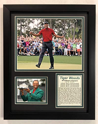 (Legends Never Die PGA Tiger Woods 2019 Masters Champion Framed Double Matted Photos)