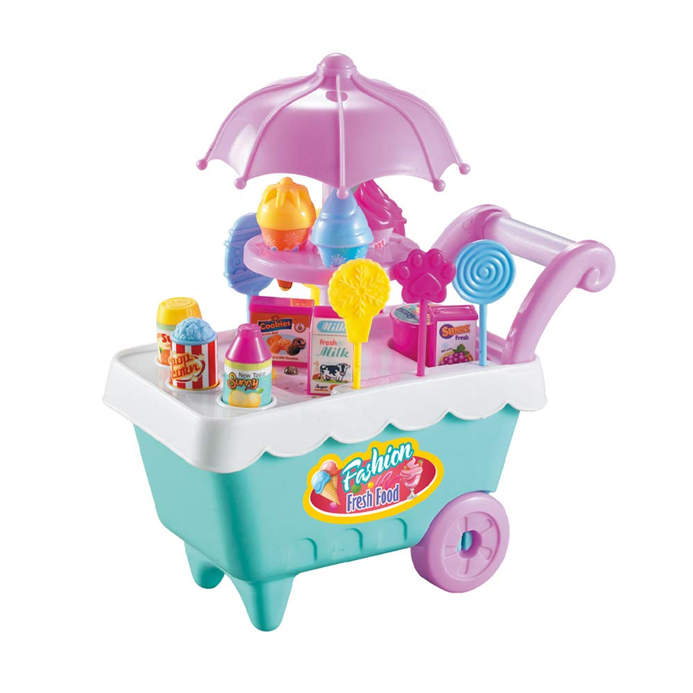 BCXY Ice Cream and Candy Trolley Toys,Best Grocery Shopping Cart Pretend Play Set Gift for Kids