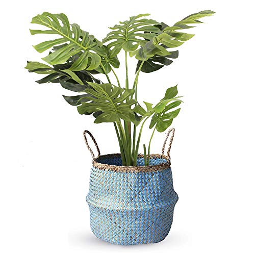 - COCOBOO - Blue Paper Seagrass Belly Basket, Storage, Laundry Basket, Handmade, Lightweight, Foldable (14 x 13 inches) Large