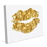 Matte Non-Metallic Gold Glamour Lips Canvas Art Print Wall Décor 8x10