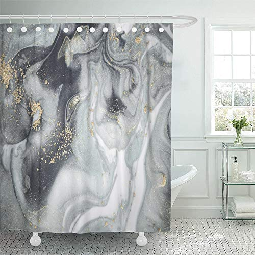 Emvency Shower Curtain Waterproof Decorative Bathroom 72 x 72 inches Natural Luxury Incorporates The Swirls of Marble Ripples Agate for Luxe Effect Trend Polyester Fabric Set with Hooks