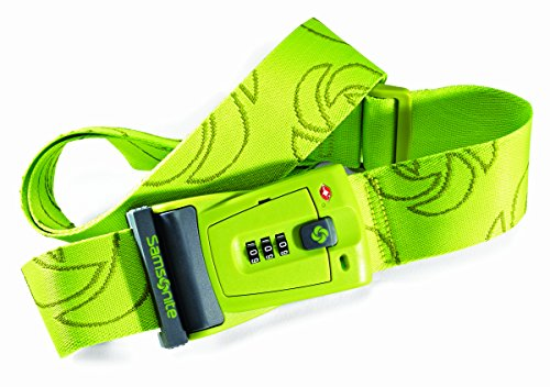 Samsonite Luggage Travel Sentry 3 Dial Combination Strap, Neon Green, One Size (Neon Luggage Straps)