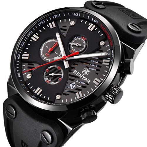BENYAR Watch Men's Business Casual Sport Chronograph Quartz Waterproof Brown Leather Strap Watch for Men (Black red 2)