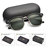 LUENX Men Clubmaster Polarized Sunglasses Women UV 400 Protection Grey Lens Black Retro Classic Frame 51MM,with Case