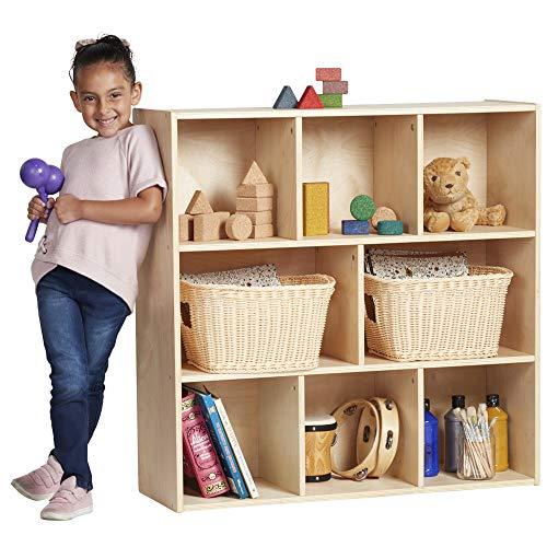 8 Compartment Cabinet - ECR4Kids Birch Streamline Storage Cabinet   Hardwood Classroom & Home Storage Solution for Kids   8-Compartment, 36