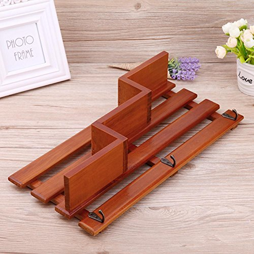 Whitelotous Wall Mounted Shelf Holder Storage Rack Wooden Organizer Hanging with 3 Hooks for Home Decor 15.35''x7.48''x3.14'' (Natural Wood) by Whitelotous (Image #3)