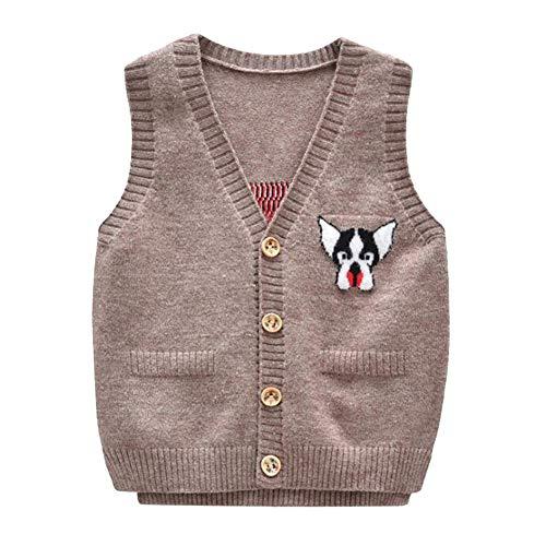 Sweater Performance V-neck Vest (Onlyso Toddler Little Boys Button Down Cardigan Sweater Vest (2T, Khaki))
