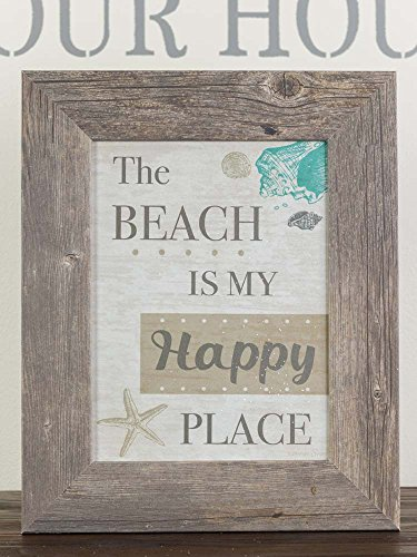 The Beach Is My Happy Place Ocean Lake Pool Framed Picture Decor Grey 13x16