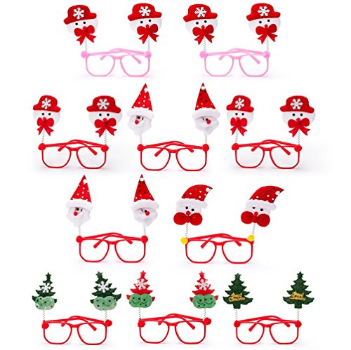 Christmas Tree Costume Toddler (Christmas Party eyeglass Cute Santa Claus Tree Snowman Costume For Kids, 10 Pack)