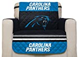NFL Carolina Panthers Chair Reversible Furniture Protector with Elastic Straps, 75-inches by 65-inches