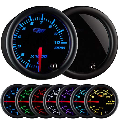 GlowShift Tinted 7 Color 10,000 RPM Tachometer Gauge - for 1-10 Cylinder Gas Powered Engines - Black Dial - Smoked Lens - 2-1/16