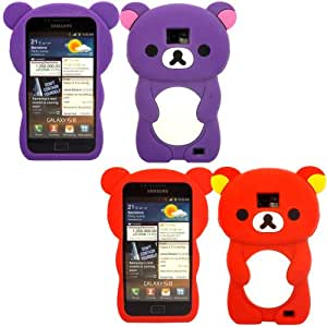 2 Pack Teddy Silicona Concha Caso Cubrir Para Samsung Galaxy S2 i9100 / Purple And Red