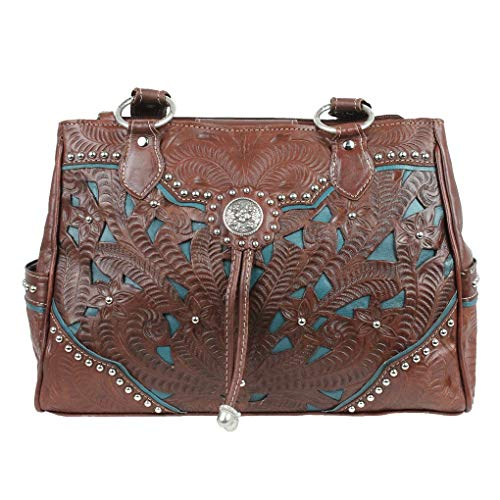 American West Leather - Multi Compartment Tote Bag -Purse Holder Bundle (Brown - Lady lace)