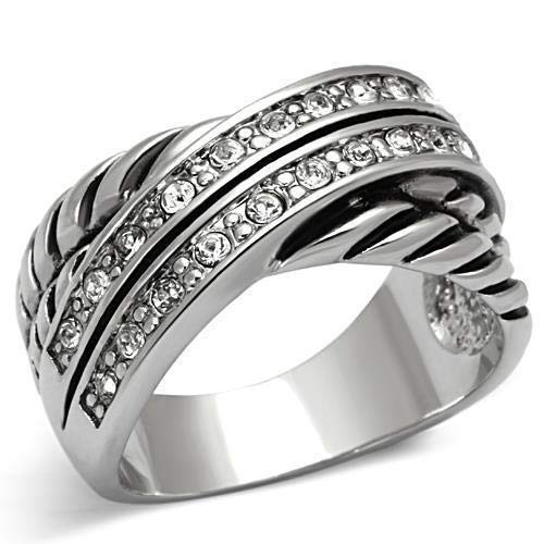 Cable Designer Inspired Pave Set Rhodium Ring Size 5-9