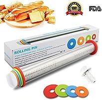 Adjustable Rolling Pin with Thickness Rings Guides - Rodillos de Acero Inoxidable de 17 pulgadas Rodillo de Masa Estilo Francés para Hornear Pasteles de Pizza y Galletas