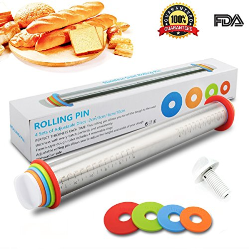 Adjustable Rolling Pin with Thickness Rings Guides - Rodillos de Acero Inoxidable de 17 pulgadas Rodillo de Masa Estilo...