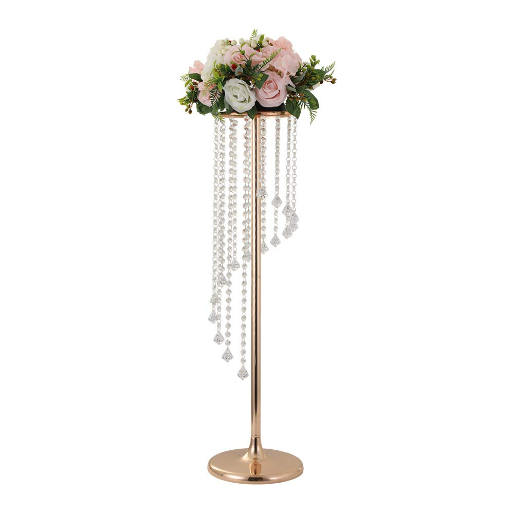LANLONG 27.5'Tall Wedding Table Centerpiece, Candle Holder, Candlestick, Road Lead Flower Stand, Wedding Home Christmas Decoration Christmas Decor Decorations for Living Room (Gold, 35.4')