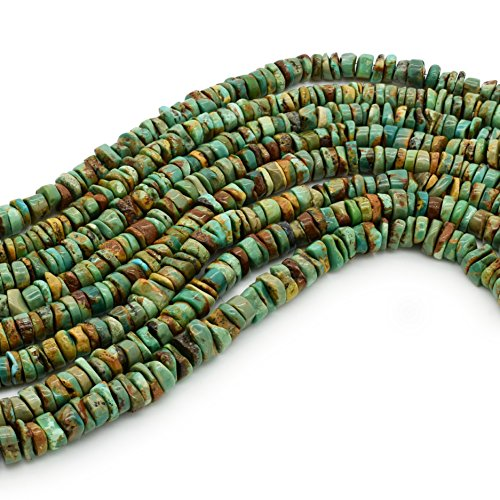 Bluejoy Genuine Natural American Turquoise 6mm Free-Form Disc Bead 16 inch Strand for Jewelry Making