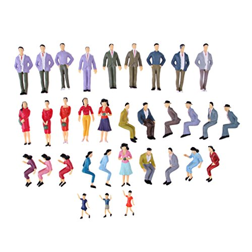 MagiDeal HO Plastic Painted People Action Figure 1/25 Scale for Street Layout Scene