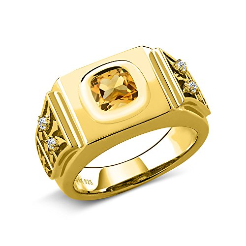 ne White Topaz 18K Yellow Gold Plated Silver Men's Ring (Size 11) ()