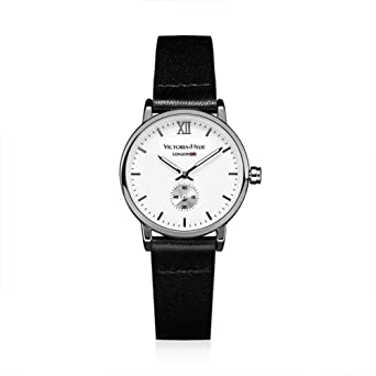 VICTORIA HYDE Small Lady Quartz Watches Classic Women Wrist Watch Round Leather Strap Black Waterproof
