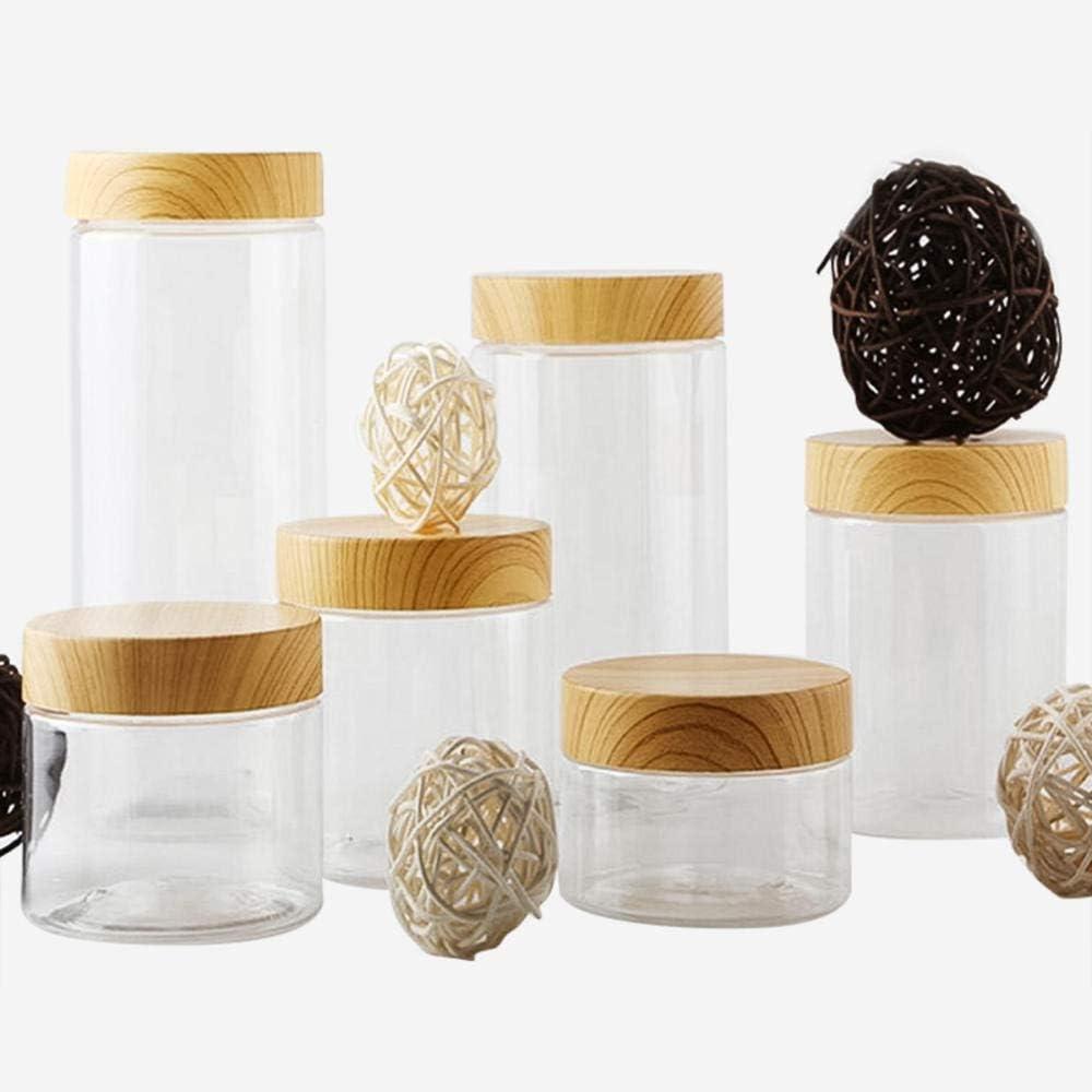 100ML/200ML/300ML/500ML Transparent Vacuum Plastic Lid Container Food Storage Box Imitation Wooden Covered Kitchen Tools
