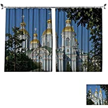 DESPKON Active Printing Fabric Polyester Material St Nicholas Naval Cathedral,Baroque Orthodox Cathedral,Saint Petersburg,Russia for Cartoon Children's Room W63 x L63