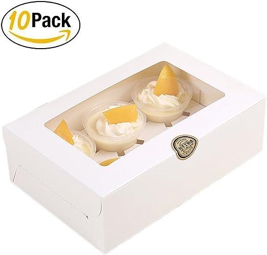 10 x 6 agujeros cajas para cupcakes con ventana de visualización ...