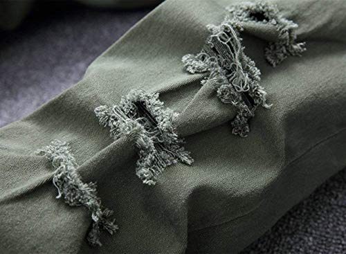 Knee Il Hat Slim Tempo Libero Fit Uomo Da Armeegrün Closure Moda Jeans Strappati Denim Skinny Pants Per Alla Vintage nRBY6W4qw