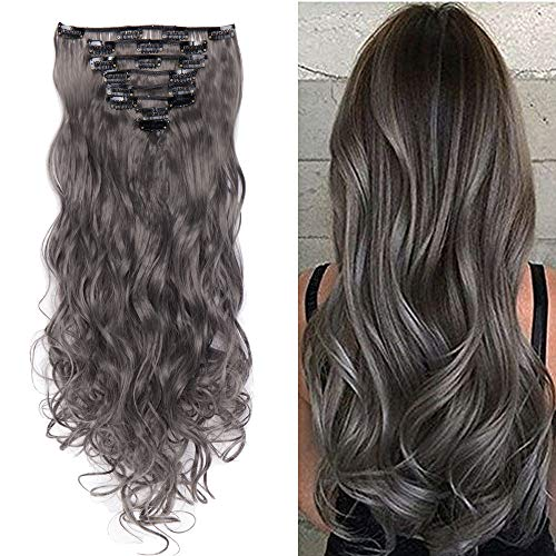 S-noilite 8 Piece 24 Inches (61cm) Curly Synthetic Thick Full Head Hair Extension 18 Clips Clip-on Hairpieces (Dark Grey)