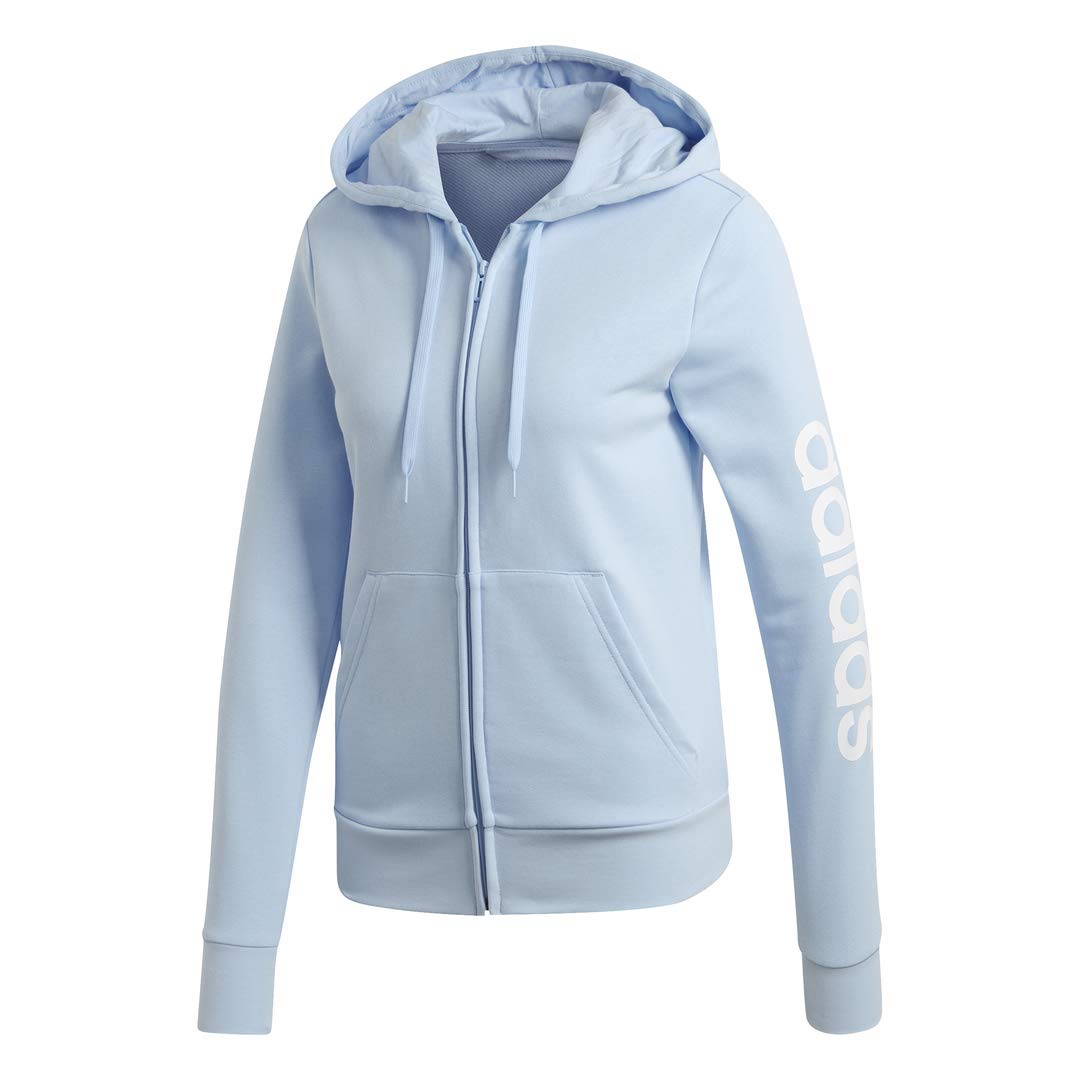 adidas Women's Essentials Linear Full-zip Hoodie Sweatshirt, Glow Blue/White, Small by adidas