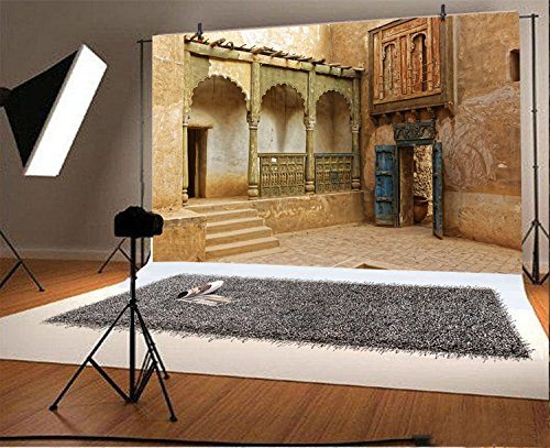 LFEEY 7x5ft Morocco Abandoned Town Backdrop Old Ancient Deserted City Ruin Architecture Building Grunge Stone Wall Photography Background Travel Photo Studio Props by LFEEY (Image #1)