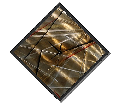 Statements2000 Gold, Black Red Handcrafted Modern Wall Clock – Abstract Functional Art – Hanging Timepiece – Timekeeper Accent – The Clock Strikes by Jon Allen