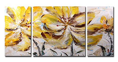 Hand Bed Set Painted (ARTLAND 24x48-inch 'Brown Flower the Wind' 3-piece Framed Hand Painted Canvas Flower Wall Art Set)