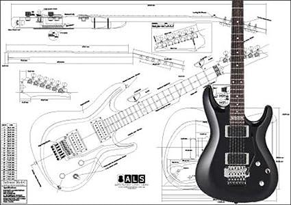 Plan de Ibanez SATRIANI modelo guitarra eléctrica – escala completa impresión