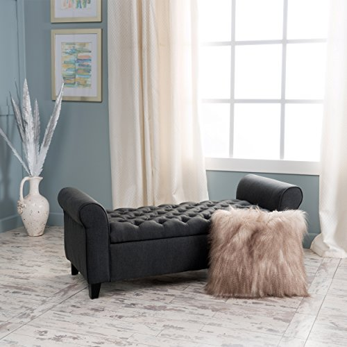 Christopher Knight Home Charlemagne Dark Grey Tufted Fabric Armed Storage Bench