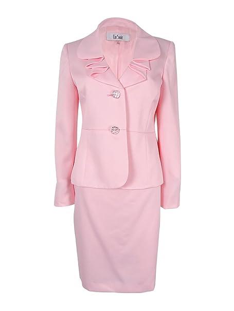 Amazon.com: Le Suit Traje Botón 2 satén falda para mujer ...