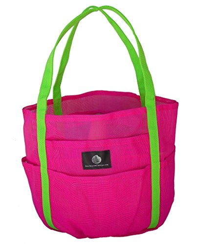Saltwater Canvas Mesh Dolphin Bag, 7 pockets, Medium Beach Tote, pool, Hot Pink