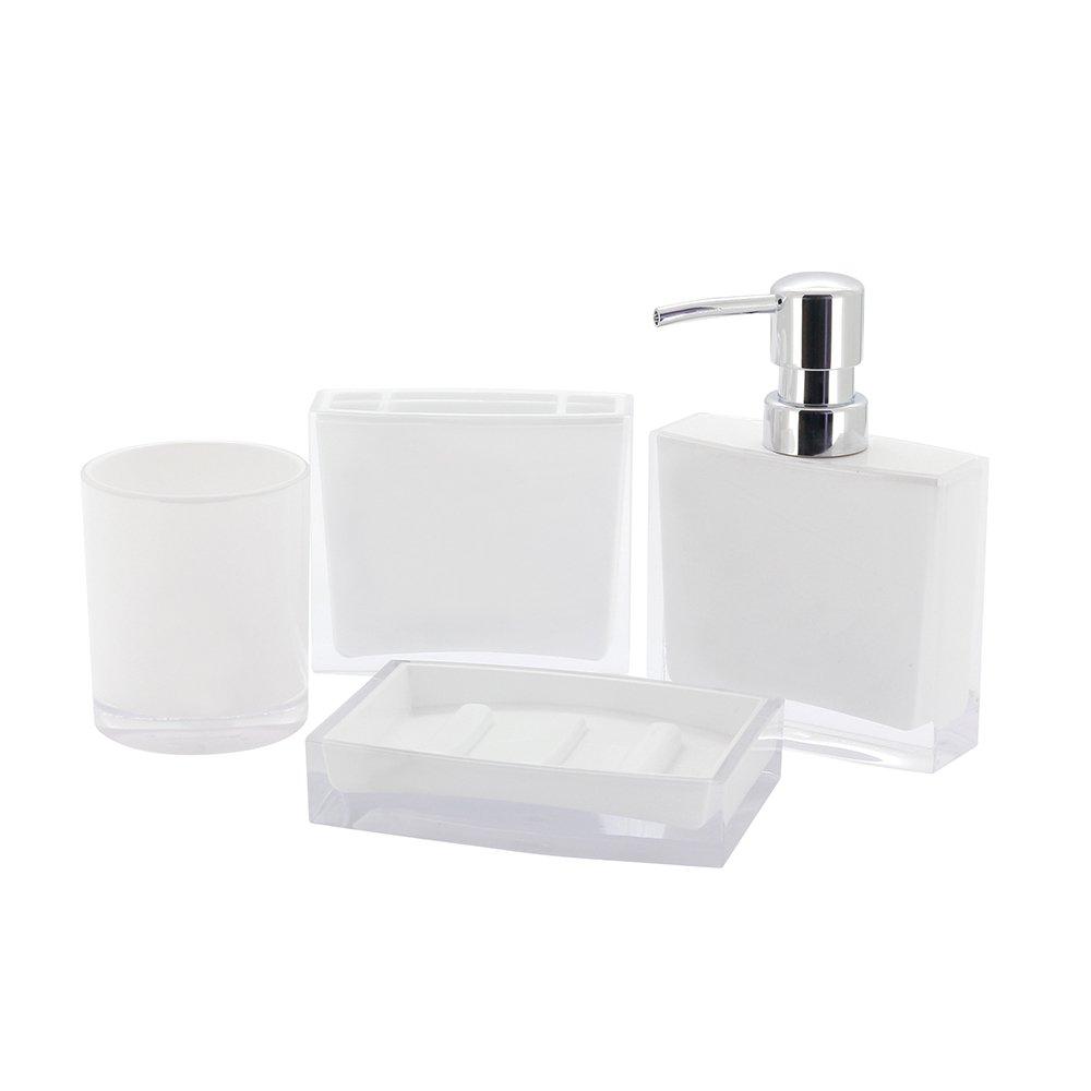 Kingston Brass CBAK2300W 4 Piece Krystal Bathware Canyon Bath Accessory Set, 5-15/16 Inch Length, White by Kingston Brass