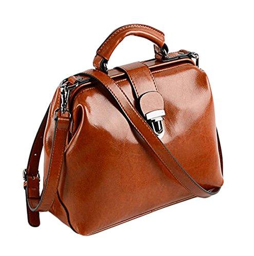 Cuir Paquet à Pétrole Docteur Main Boucle Sac brown De Rétro à Cuir épaule Messenger En Cire Bag En Main Sacs zwq507Z
