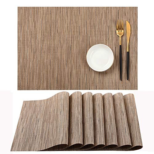 SHINYKDY Brown Placemats Set of 8, Placemats for Dining Table Heat Resistant, Place Mats for Kitchen Table Washable, Crossweave Woven Vinyl Wipeable Placemat, Table Mats Sets Beige(12 X 18 Inch)