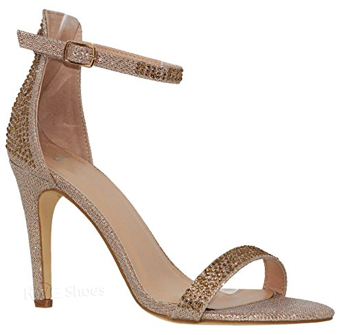 (MVE Shoes Women's Shimmer Heeled Sandals - Sexy Stilleto High Heels - Open Toe Ankle Strap Sandals, Abby-1 champane 10)