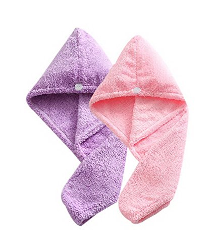 Women's Soft Shower Hair Towel Super Absorbent Dry Hair Cap Pink + Purple 4 Pack by Gentle Meow