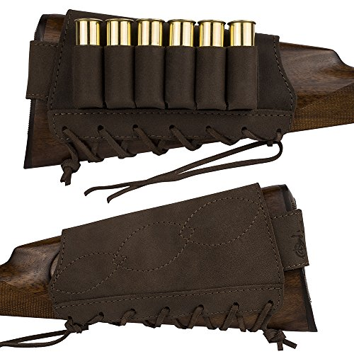BronzeDog Adjustable Leather Buttstock Cartridge Ammo Holder for Rifles 12, 16 Gauge, 7.62cal, Hunting Ammo Pouch Bag Stock Right Handed Buttstock Shotgun Shell Holder 12 Gauge (Brown, 12/16 gauge)