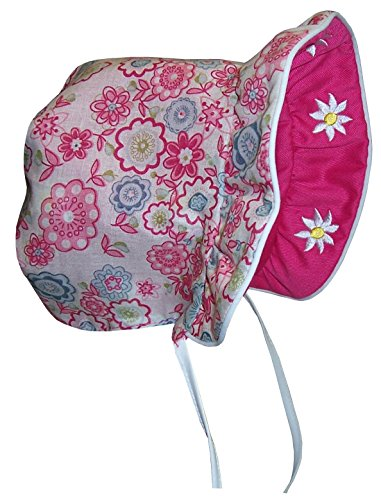 N'Ice Caps Baby Girls Solid to Print Reversible Sun Bonnet (Infant Large (12-18 months), fuchsia solid/fuchsia - Cap Print Crown