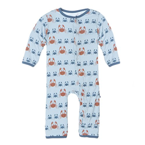 KicKee Pants Bamboo Boys Coverall (6-12 Months, Pond Crabbies)
