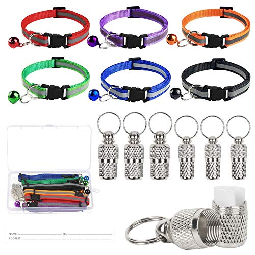 LOPOTIN 6Pcs Reflective Cat Collars with Bell and Safety Release Anti-lost Pet Collar Adjustable Breakaway Dog Collar with Pet ID Tag Tube Bells 19-32cm 6 Colors (Green Purple Red Blue Orange Black)