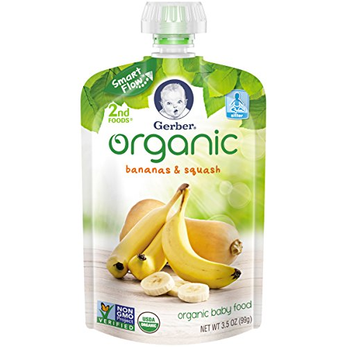 Gerber Organic 2nd Foods Baby Food, Bananas & Squash, 3.5 oz Pouch, 12 count