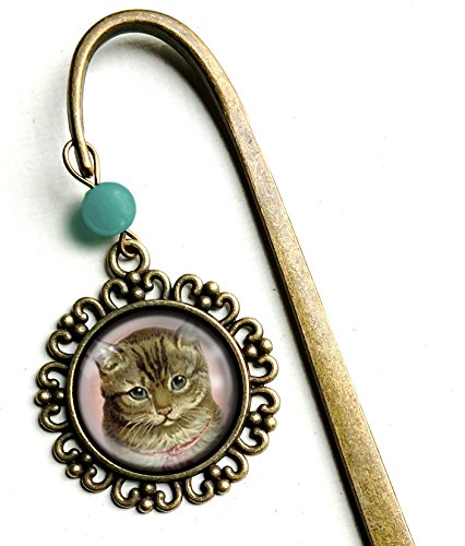 Victorian Tabby Cat - brass bookmark